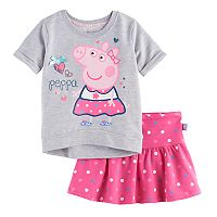 Toddler Girl Peppa Pig Graphic Sweatshirt & Polka-Dot Skirt Set