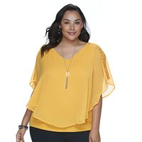 Plus Size Apt. 9® Lace Chiffon Popover Top
