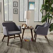 Baxton Studio Mid-Century Modern Arm Chair & End Table 3 pc Set