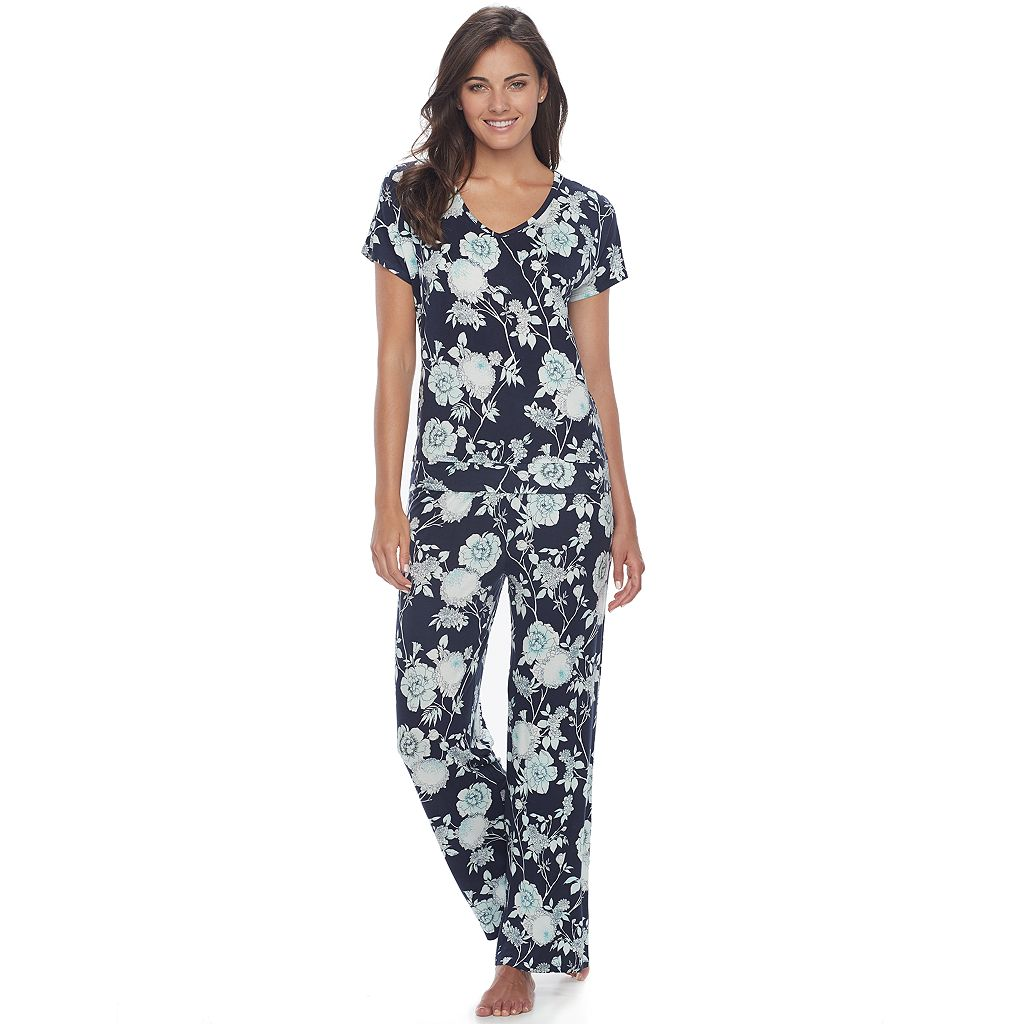 Women's Apt. 9® Pajamas: Lace Back Tee & Pants PJ Set