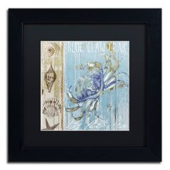 Trademark Fine Art Blue Crab I Black Framed Wall Art