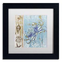 Trademark Fine Art Blue Crab I Black Framed Wall Art
