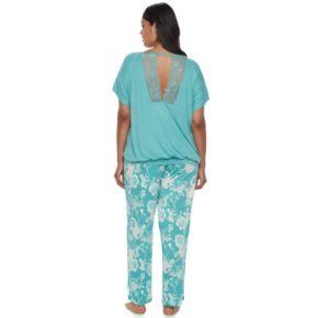 Plus Size Apt. 9® Pajamas: Lace Back Tee & Pants PJ Set