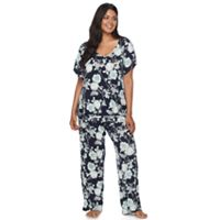 Plus Size Apt. 9® Pajamas: Lace Back Tee & Pants PJ Set