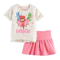 Toddler Girl PJ Masks Owlette, Catboy & Gekko Graphic Sweatshirt & Polka-Dot Skirt Set