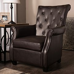Baxton Studio Brixton Faux-Leather Club Arm Chair