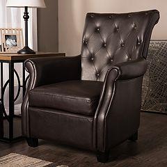 Baxton Studio Brixton Faux-Leather Club Arm Chair