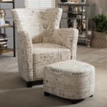Baxton Studio Benson Script Arm Chair & Ottoman 2 pc Set