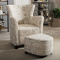 Baxton Studio Benson Script Arm Chair & Ottoman 2 pc Set