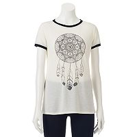 Juniors' THE PRINT SHOP Dreamcatcher Oversized Ringer Tee