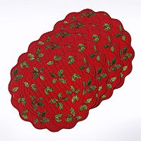 St. Nicholas Square® Quilted Holly Placemat 4-pk.