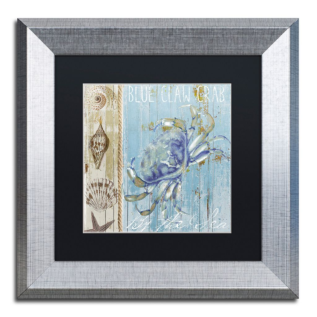 Trademark Fine Art Blue Crab I Silver Finish Framed Wall Art