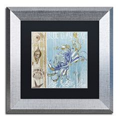 Trademark Fine Art Blue Crab I Silver Finish Framed Wall Art