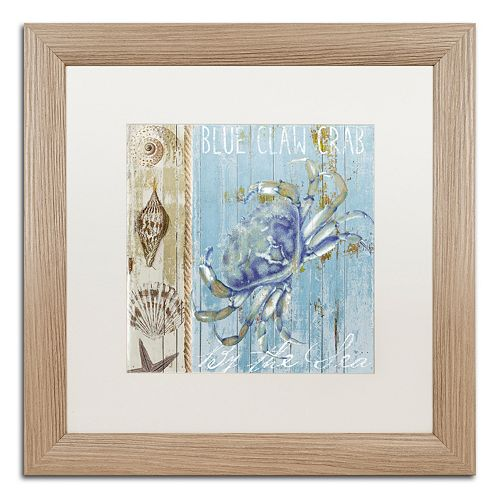 Trademark Fine Art Blue Crab I Distressed Framed Wall Art
