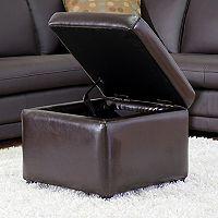 Baxton Studio Dark Brown Faux-Leather Storage Ottoman