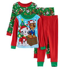 Toddler Boy Paw Patrol 4 pc Christmas Marshall & Chase Pajama Set