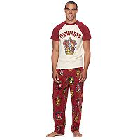 Men's Harry Potter Gryffindor Crest Raglan Tee & Microfleece Lounge Pants Set