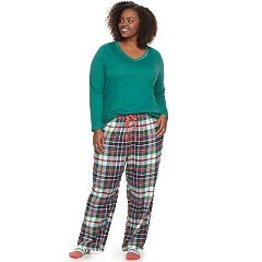 Plus Size SONOMA Goods for Life™ Pajamas: V-Neck Top, Flannel Pants & Socks Set