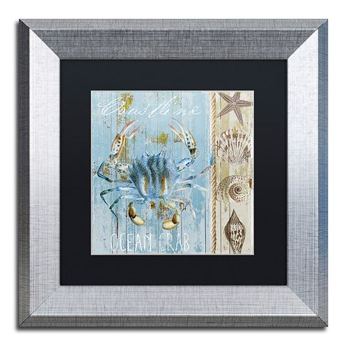Trademark Fine Art Blue Crab II Silver Finish Framed Wall Art