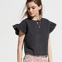 k/lab Ruffle Sleeve Denim Top