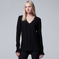 Women's Simply Vera Vera Wang Cable Knit V-Neck Sweater