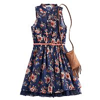 Girls 7-16 Knit Works Floral Chiffon Shirtdress with Crossbody Fringe Purse