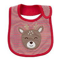 Baby Carter's Striped Reindeer Bib