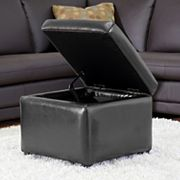 Baxton Studio Black Faux-Leather Storage Ottoman
