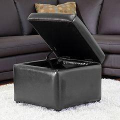 Baxton Studio Black Faux-Leather Storage Ottoman