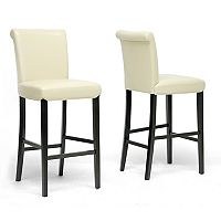 Baxton Studio Bianca Faux-Leather Bar Stool 2-piece Set