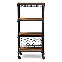 Baxton Studio Rustic Industrial Wine Bar Cart