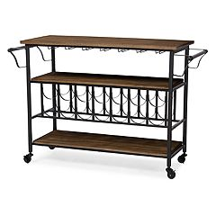 Baxton Studio Bradford Industrial Wine Bar Cart