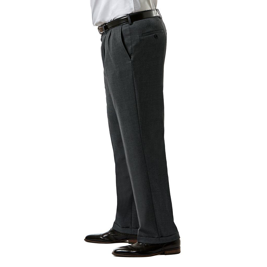 Big & Tall J.M. Haggar Premium Classic-Fit Sharkskin Stretch Pleated Suit Pants