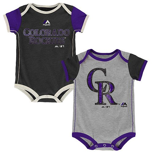 Baby Majestic Colorado Rockies Vintage 2-Pack Bodysuit Set