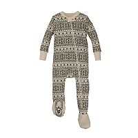 Baby Burt's Bees Baby Organic Holiday Bee Fairisle Footed One-Piece Family Pajamas