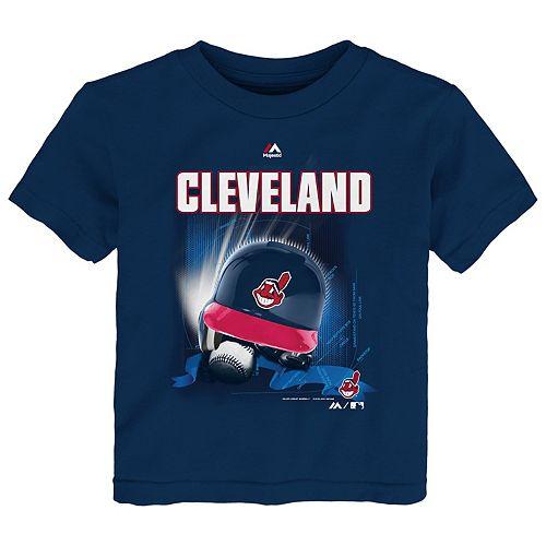 Toddler Majestic Cleveland Indians Kinetic Helmet Tee