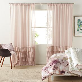 LC Lauren Conrad 1-Panel Kate Ruffle Sheer Curtain