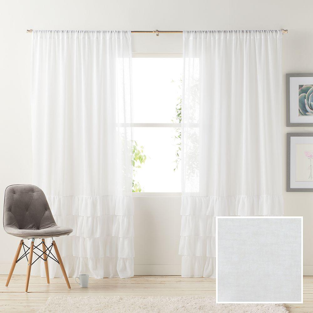 White ruffle curtain - Lc Lauren Conrad Kate Ruffle Sheer Curtain