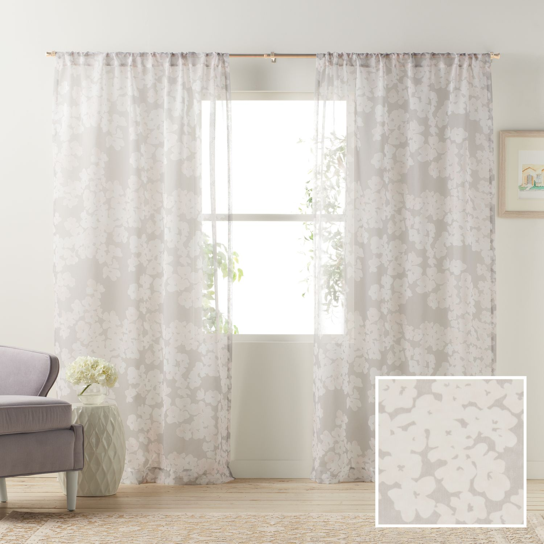 lc lauren conrad pale blossom sheer window curtain