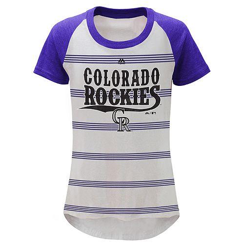 Girls 7-16 Majestic Colorado Rockies Pinstripe Tee