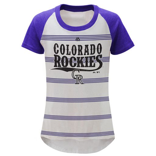 Girls 7-16 Majestic Colorado Rockies Pinstripe Tee
