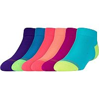 Girls 4-16 GOLDTOE 6-pk. Colorblock Quarter Socks