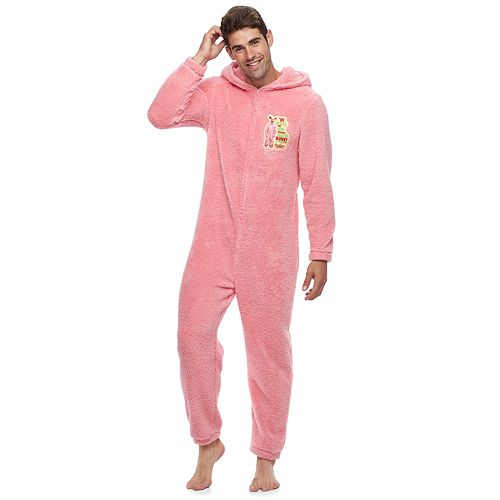 mens a christmas story hooded fleece bunny union suit