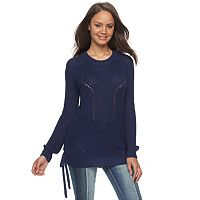 Juniors' SO® Lace-Up Tunic Sweater