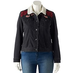 Juniors' Plus Size Mudd® Sherpa-Lined Embroidered Jean Jacket