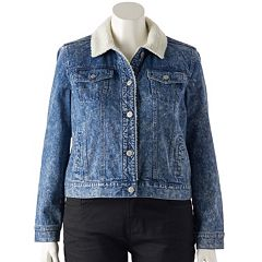 Juniors' Plus Size Mudd® Sherpa-Lined Jean Jacket