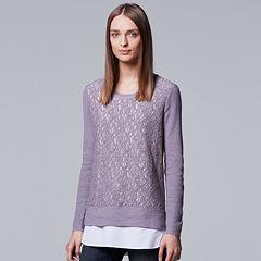 Petite Simply Vera Vera Wang Mock-Layer Lace Front Top