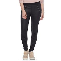 Juniors' Rewind Faux-Leather Ponte Skinny Pants