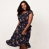 Plus Size LC Lauren Conrad Floral Pleat Neck Dress