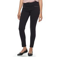 Juniors' Rewind Zipper Accent Ponte Skinny Pants